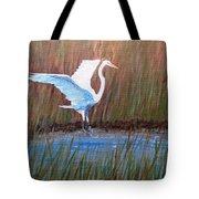 Egret Landing Tote Bag