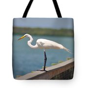Egret On A Pier Tote Bag