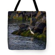 Egret On The Rocks Tote Bag
