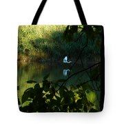 Egret Over The East River Tote Bag
