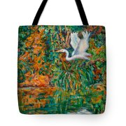 Egret Reflections Tote Bag