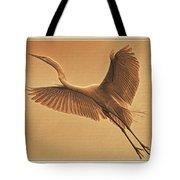 Egret Sepia Tote Bag