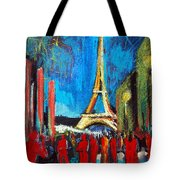 Eiffel Tower And The Red Visitors Tote Bag
