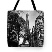 Eiffel Tower Black And White Tote Bag