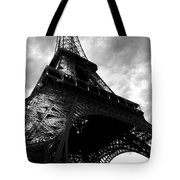 Eiffel Tower In Black And White. Ominous Sky Overhead Tote Bag