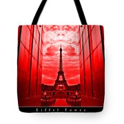 Eiffel Tower In Red Tote Bag