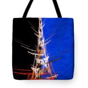 Eiffel Tower In Red On Blue  Abstract  Tote Bag