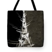 Eiffel Tower In White Bw 2 Abstract Tote Bag