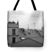 Eiffel Tower Over The Rooftops Tote Bag