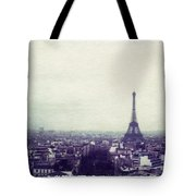 Eiffel Tower Paris Polaroid Transfer Tote Bag by Jane Linders