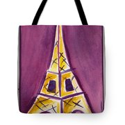 Eiffel Tower Purple And Yellow Tote Bag