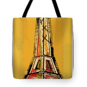 Eiffel Tower Yellow Black And Red Tote Bag