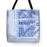Eiffel Towers Steel Frame Blueprint Tote Bag