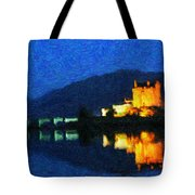 Eilean Donan At Night Tote Bag