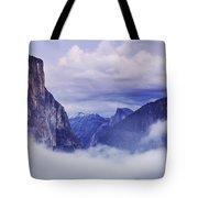 El Capitan Rises Above The Clouds Tote Bag