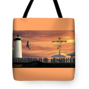 El Faro Christ Sunset Photo Illustration Tote Bag