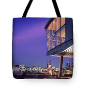 Elbe River With Waterfront Skyline Tote Bag