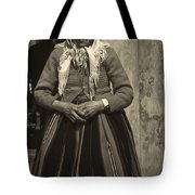 Elderly Woman In Black And White Tote Bag