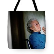 Elderly Woman Sitting In A Wheel Chair Tote Bag