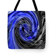 Electric Blue Wound Into Black And White Abstract Tote Bag