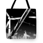 Electric Fence Black And White Tote Bag