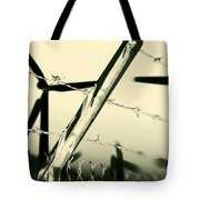 Electric Fence Silhouette Tote Bag