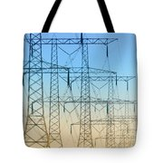 Electricity Pylons Standing In A Row Tote Bag