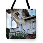 Elegant White House And Balcony Tote Bag