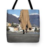 Elegant Woman Walking Tote Bag
