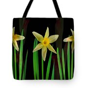 Elegant Yellow Flowers On Green Shoots Tote Bag