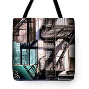 Elemental City - Fire Escape Graffiti Brownstone Tote Bag
