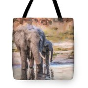 Elephant Mother And Calf Tote Bag
