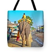 Elephant Ride In Street Tote Bag