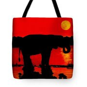 Elephant Silhouette African Sunset Tote Bag