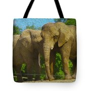 Elephant Snuggle Tote Bag