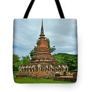 Elephant Stupa At Wat Sarasak In Sukhothai Historical Park-thailand Tote Bag