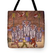 Elephants And Acrobats Tote Bag
