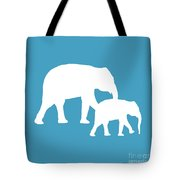 Elephants In White And Turquoise Tote Bag