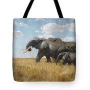 Elephants On The Move Tote Bag