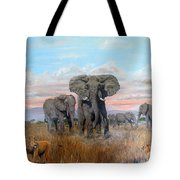Elephants Warning To The Lions Tote Bag