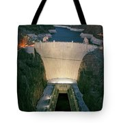 Elevated View At Dusk Of Hoover Dam Tote Bag