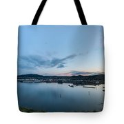 Elevated View Of A Harbor At Sunset Tote Bag