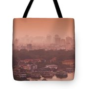 Elevated View Of A Lake And A City Tote Bag