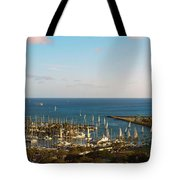 Elevated View Of Boats At A Harbor Tote Bag