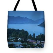 Elevated View Of Town At Dawn Tote Bag