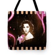Elizabeth Taylor - Pink Film Tote Bag by Absinthe Art By Michelle LeAnn Scott