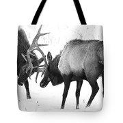 Elk Fighting Black And White Tote Bag