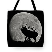 Elk Silhouette On Moon Tote Bag