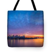 Ellis Island And Manhattan Sunrise Tote Bag
