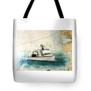 Elly Crab Fishing Boat Nautical Chart Map Art Tote Bag